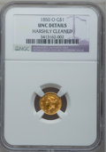 Gold Dollars, 1850-O G$1 -- Harshly Cleaned -- NGC Details. Unc....