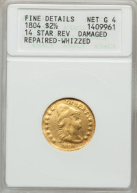 1804 $2 1/2 14 Star Reverse -- Damage, Repaired, Whizzed -- ANACS. Fine Details, Net Good 4. Breen-6119, BD-2, R.4....(P...