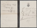 Movie/TV Memorabilia:Memorabilia, A Sarah Bernhardt Handwritten Note to Maud Tree, 1897....