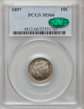 Barber Dimes, 1897 10C MS66 PCGS. CAC....