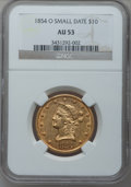 Liberty Eagles, 1854-O $10 Small Date AU53 NGC. Variety 1....