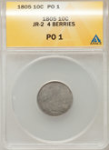 Early Dimes, 1805 10C 4 Berries Poor 1 ANACS. JR-2. NGC Census: (1/250). PCGSPopulation (2/377). Mintage: 120,780. Numismedia Wsl. Pric...