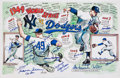 Baseball Collectibles:Others, 1949 World Series New York Yankees and Brooklyn Dodgers Multi Signed Print....