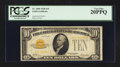 Small Size:Gold Certificates, Fr. 2400 $10 1928 Gold Certificate. PCGS Very Fine 20PPQ.. ...