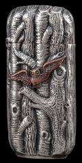 Silver Smalls:Match Safes, A SHIEBLER SILVER AND COPPER MATCH SAFE . George W. Shiebler &Co., New York, New York, circa 1880. Marks: (winged S),STE...