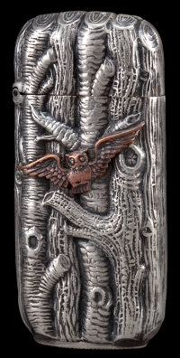 A SHIEBLER SILVER AND COPPER MATCH SAFE George W. Shiebler & Co., New York, New York, circa 1880 Marks: (winge