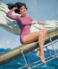 Pin-up and Glamour Art, ARTHUR SARON SARNOFF (American, 1912-2000). Pin-Up Sailing.Oil on board. 26 x 22 in.. Signed lower right. ...