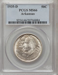 Commemorative Silver: , 1935-D 50C Arkansas MS66 PCGS. PCGS Population (185/39). NGCCensus: (97/24). Mintage: 5,505. Numismedia Wsl. Price for pro...