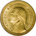 Commemorative Gold: , 1903 G$1 Louisiana Purchase/Jefferson MS66 PCGS. Rich orange,apple-green, and ruby-red patina endows the reverse. The obve...