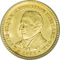 Commemorative Gold: , 1905 G$1 Lewis and Clark MS63 PCGS. Highly lustrous with a bright,satiny, yellow-gold sheen that is only marred by a singl...