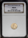 Commemorative Gold: , 1915-S G$1 Panama-Pacific Gold Dollar MS64 NGC. A nicely struck andrather frosty example of this classic commemorative gol...