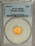 Commemorative Gold: , 1915-S G$1 Panama-Pacific Gold Dollar MS64 PCGS. Crisply detailedthroughout, with decidedly better than average striking d...
