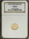 Commemorative Gold: , 1915-S G$1 Panama-Pacific Gold Dollar MS64 NGC. The frostyhoney-gold fields have small swirls of peach and green. Well str...