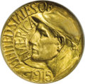 Commemorative Gold: , 1915-S G$1 Panama-Pacific Gold Dollar MS65 NGC. The crisp strikingdetails are noteworthy on this beautiful Gem example. Th...