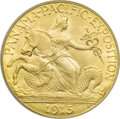 Commemorative Gold: , 1915-S $2 1/2 Panama-Pacific Quarter Eagle MS65 PCGS. A lustrouskhaki-gold Gem that has delightful preservation and a prec...