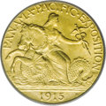 Commemorative Gold: , 1915-S $2 1/2 Panama-Pacific Quarter Eagle MS66 PCGS. A smallplanchet lamination, seen only with a loupe on the jaw of the...