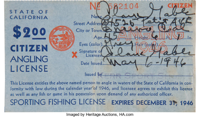 A Clark Gable Signed Fishing License, 1946     Movie/TV