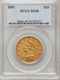 Liberty Eagles: , 1851 $10 XF40 PCGS. PCGS Population (16/88). NGC Census: (15/221).Mintage: 176,328. Numismedia Wsl. Price for problem free...
