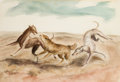 Fine Art - Work on Paper:Watercolor, JOHN STEUART CURRY (American, 1897-1946). Hounds Catching aCoyote. Watercolor on paper mounted to board. 16-1/2 x 23 in...