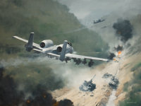 ROBERT GRANT SMITH (American, 1914-2001) A-10 in Battle Oil on canvas 30 x 40 inches (76.2 x 10