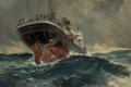 Fine Art - Painting, European:Modern  (1900 1949), FRANK HENRY MASON (British, 1876-1965). The S.S. Titania in theSouth Atlantic, 1939. Oil on board. 10-1/2 x 16-1/2 inch...