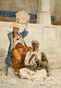 Fine Art - Painting, European:Antique  (Pre 1900), P. VALERI (19th Century Italian) . Orientalist Scene inIstanbul,c. 1880-90. Watercolor on paper laid on board. 28-3/4x...