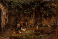 Fine Art - Painting, European:Antique  (Pre 1900), FRENCH SCHOOL (19th Century). French Barnyard Scene withChickens and Dog, circa 1870. Oil on canvas. 15-1/2 x 22inches...