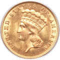 Three Dollar Gold Pieces, 1887 $3 MS63+ PCGS....