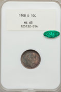 Barber Dimes: , 1908-D 10C MS65 NGC. CAC. NGC Census: (15/13). PCGS Population(16/12). Mintage: 7,490,000. Numismedia Wsl. Price for probl...