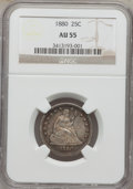 Seated Quarters: , 1880 25C AU55 NGC. NGC Census: (6/107). PCGS Population (0/177).Mintage: 13,600. Numismedia Wsl. Price for problem free NG...