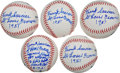 Autographs:Baseballs, Frank Saucier Single Signed Baseballs (Eddie Gaedel Content!) Lot Of 5....