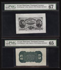 Fractional Currency:Third Issue, Fr. 1272SP 15¢ Third Issue Wide Margin Pair PMG Superb Gem Unc 67 and PMG Gem Uncirculated 65.. ... (Total: 2 notes)