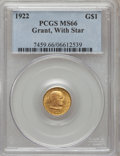 Commemorative Gold: , 1922 G$1 Grant With Star MS66 PCGS. PCGS Population (578/224). NGCCensus: (316/108). Mintage: 5,016. Numismedia Wsl. Price...
