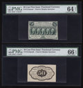 Fractional Currency:First Issue, Fr. 1313SP 50¢ First Issue Narrow Margin Pair PMG Choice Uncirculated 64 EPQ and Gem Uncirculated 66 EPQ.. ... (Total: 2 notes)