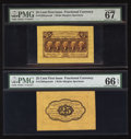 Fractional Currency:First Issue, Fr. 1282SP 25¢ First Issue Wide Margin Pair PMG Superb Gem Unc 67EPQ and Gem Uncirculated 66 EPQ.. ... (Total: 2 notes)