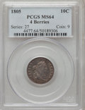 Early Dimes: , 1805 10C 4 Berries MS64 PCGS. PCGS Population (28/19). NGC Census:(30/23). Mintage: 120,780. Numismedia Wsl. Price for pro...