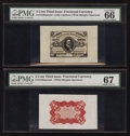 Fractional Currency:Third Issue, Fr. 1236SP 5¢ Third Issue Wide Margin Pair PMG Gem Uncirculated 66 and Superb Gem Unc 67.. ... (Total: 2 notes)