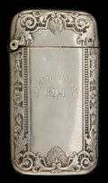Silver Smalls:Match Safes, A GORHAM SILVER MATCH SAFE . Gorham Manufacturing Co., Providence,Rhode Island, 1913. Marks: (lion-anchor-G), STERLING, B...