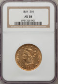 Liberty Eagles: , 1854 $10 AU58 NGC. NGC Census: (51/13). PCGS Population (11/6).Mintage: 54,250. Numismedia Wsl. Price for problem free NGC...