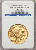 Modern Bullion Coins, 2008 $50 Buffalo Early Releases MS70 NGC. NGC Census: (0). PCGSPopulation (366). (#393327)...