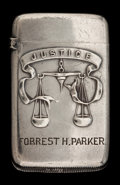 Silver Smalls:Match Safes, A GORHAM SILVER PRESENTATION MATCH SAFE . Gorham Manufacturing Co.,Providence, Rhode Island, 1893. Marks: (lion-anchor-G), ...