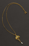 Estate Jewelry:Pendants and Lockets, Early Gold Drop & Chain. ...