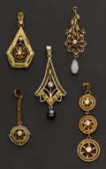 Estate Jewelry:Pendants and Lockets, Five Antique Gold Drops. ... (Total: 5 Items)