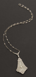 Estate Jewelry:Necklaces, Early White Gold Rock Crystal Necklace. ...
