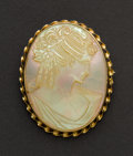 Estate Jewelry:Cameos, Fine Mother Of Pearl Gold Cameo. ...