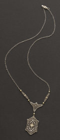 Estate Jewelry:Necklaces, Filigree White Gold Necklace & Chain. ...