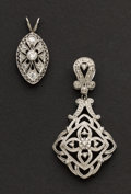 Estate Jewelry:Pendants and Lockets, Two White Gold & Diamond Pendants. ...