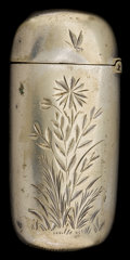 Silver Smalls:Match Safes, A GORHAM SILVER-PLATED MATCH SAFE . Gorham Manufacturing Co.,Providence, Rhode Island, circa 1885. Marks: (anchor),GORHA...