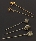 Estate Jewelry:Stick Pins and Hat Pins, Five Antique Diamond & Gold Stick Pins. ... (Total: 5 Items)