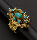 Estate Jewelry:Rings, Turquoise Cabochon Gold Ring. ...